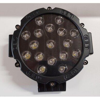 Žibintas LED 12/24V,51W TR-7051 apvalus juodas